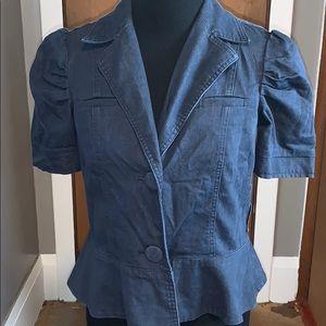 Apostrophe short sleeved peplum denim jacket